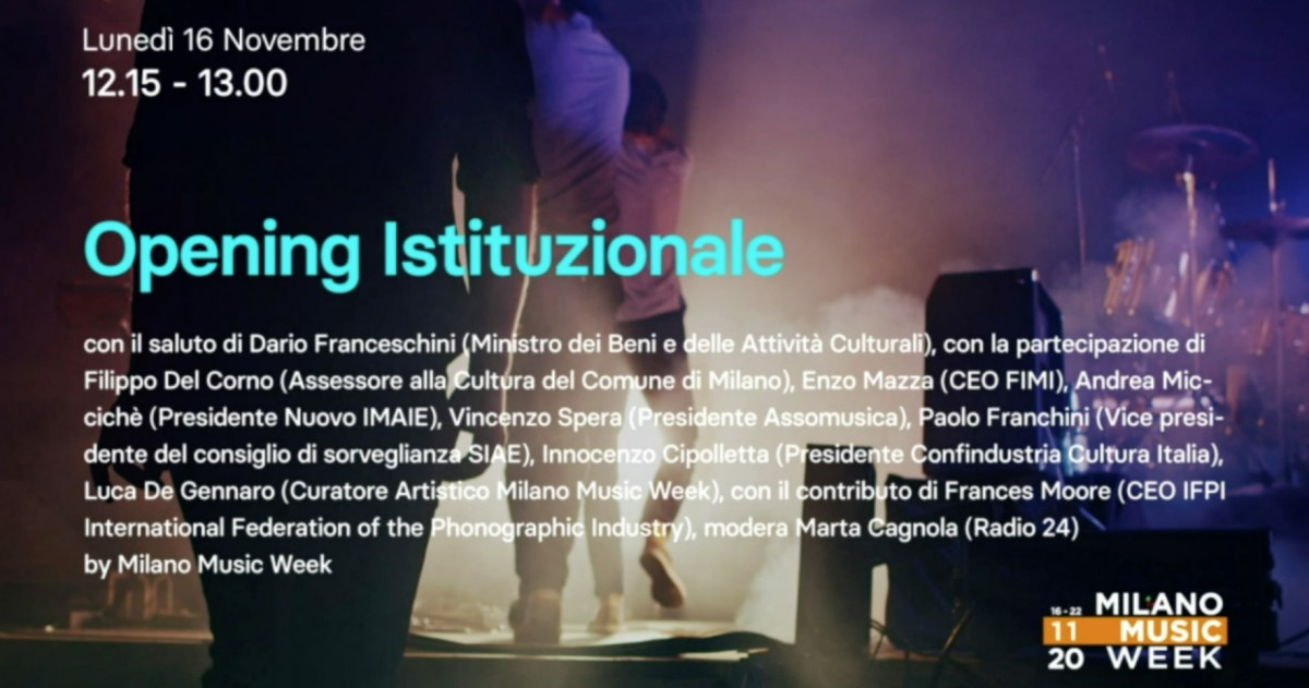 Opening istituzionale Milano Music Week - 16/11/2020 - Intervento Presidente Assomusica